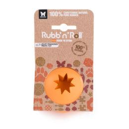 Rubb'n'Treat - Jutalomfalattal tölthető, méreganyagmentes és környezetbarát labda, narancssárga 7 cm