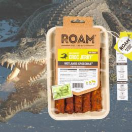 ROAM - Dél-Afrikai szabad tartású krokodil húscsíkok, jutalomfalat allergiás kutyáknak, füstölt