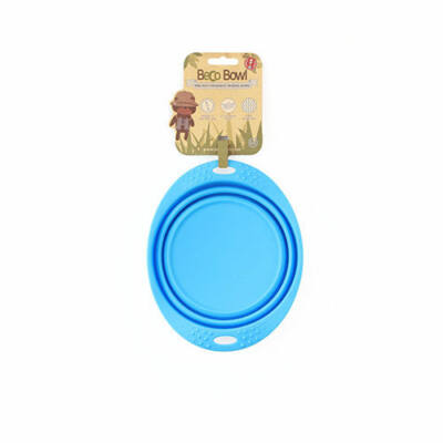 Beco Pets - Összecsukható, kék utazó tál, 18,5 cm átmérő