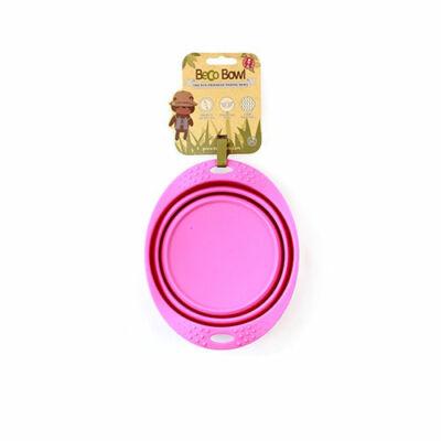 Beco Pets - Összecsukható, rózsaszín utazó tál, 18,5 cm átmérő