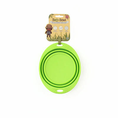 Beco Pets - Összecsukható, zöld utazó tál, 18,5 cm átmérő