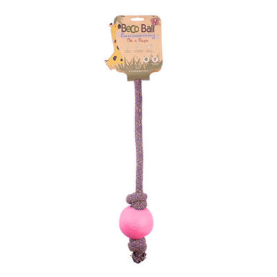Beco Pets - Méreganyagmentes rózsaszín labda pamut kötélen