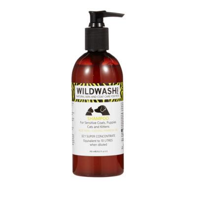 WildWash Pro - 100% természetes sampon érzékeny bőrre, kölyökkutyáknak, macskáknak 1:32 = 9,6 liternyi